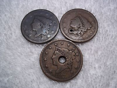 1837 Large cents U.S. (lot of 3) well circulated  HOLED #L23.11.7