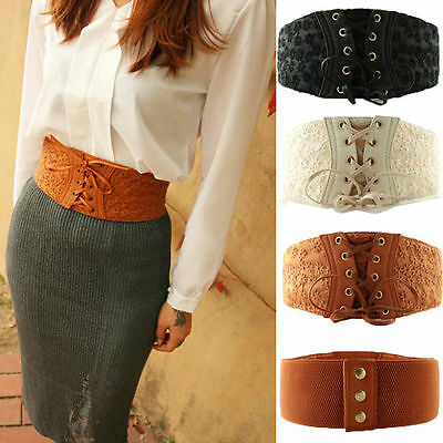 Womens PU Leather Lace Corset Waistband Wide Elastic Stretch Lace Up Waist Belt
