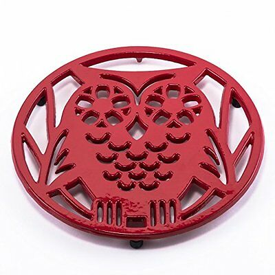 Old Dutch Cast Iron Wise Owl Trivet, Tango Red - Kitchenware Hot Plate Trivet