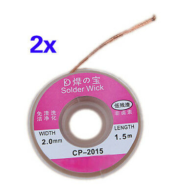 D6 2Pcs 2.0MM Solder Wick Remover Desoldering Braid Wire Sucker Cable Fluxed