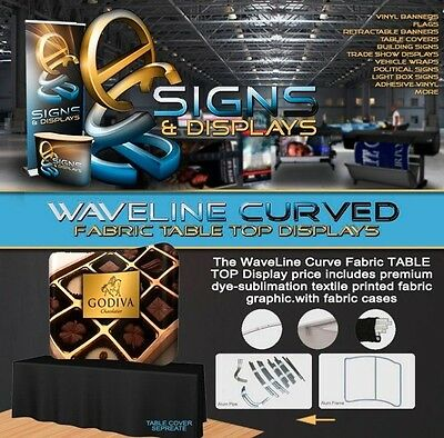 8FT, Waveline Table Top Curved Fabric Display with Carry Case
