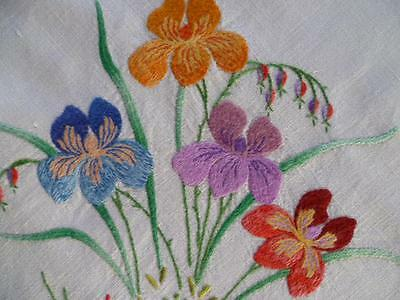 "Vintage Large Hand Embroidered Linen Coloured Iris Gardens ~Tablecloth 47.5"" Sq"