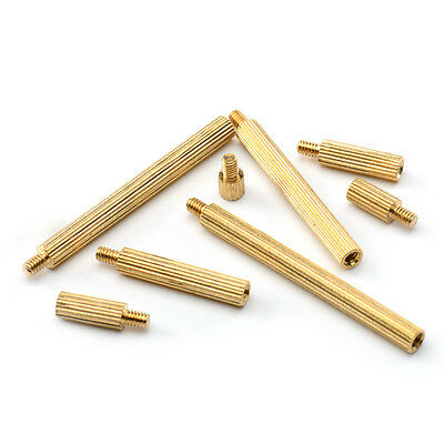 10-20Pcs M2 Knurled Spacer Stand-Off Male-Female Brass Threaded