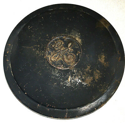 "15"" Antique General Electric Generator Cover Lid Embossed Round Dog Dish Sign"