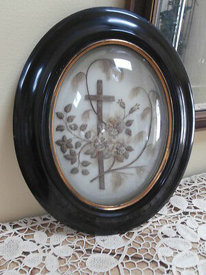 Antique French Mourning Hair Frame ~ Sentimental Mourning Relic