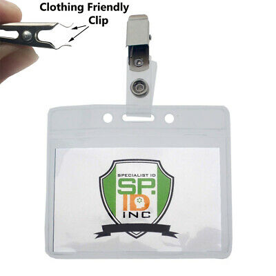 10 Pack - Horizontal Name Tag Badge Holders w/ Snag Free Clips by Specialist ID