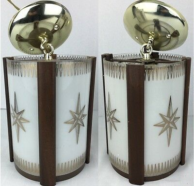 Vintage PAIR Of Indoor Hanging Light Fixtures With Frosted Glass And Star Design