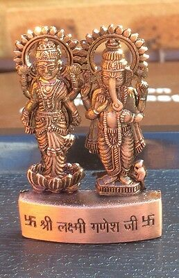Laxmi Lakshmi Ganesha Ganpati Metal Mini Statue Hindu God Idol Office Home Altar