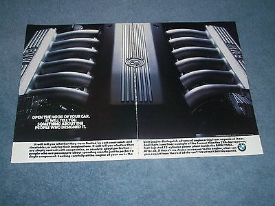 """1990 BMW 750iL Vintage 12-cylinder Engine Ad """"Open the Hood Of Your Car...."""""""