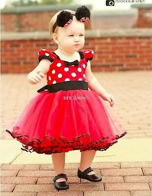 Kids Girls Baby Toddler Minnie Mouse Party Costume Tutu Dress Photo Prop Outfit
