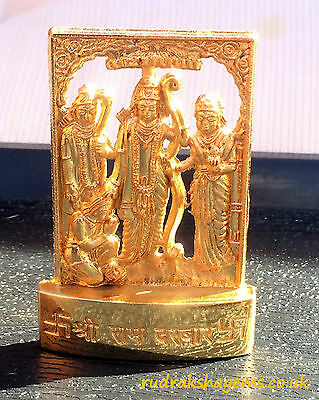 Lord Ram Rama Darbar Sita Hanumana Golden Metal Mini Statue Hindu God Idol Lord