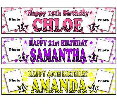 Personalised Banners Name Age Photo Birthday Party 16Th 18Th 20Th 21St 30Th A4