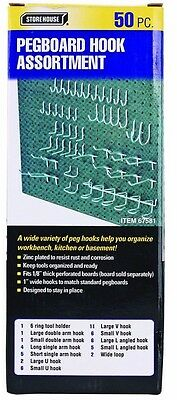 New 50 Pc Pegboard Hook Kit For Tools, Crafts, And More Storage Free US Shipping