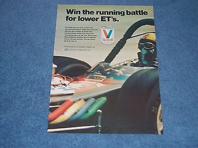 "1971 Valvoline Oil Vintage Ad ""Win the Running Battle for Lower ET's"" AA/TF"
