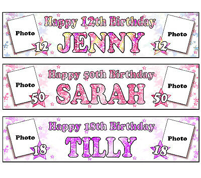 PERSONALISED BANNERS NAME AGE PHOTO BIRTHDAY PARTY mum dad nan grandad wife A5