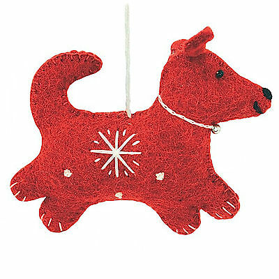 Red Snowflake Dog Christmas Ornament Handcrafted Felted Wool Nepal - Fair Trade