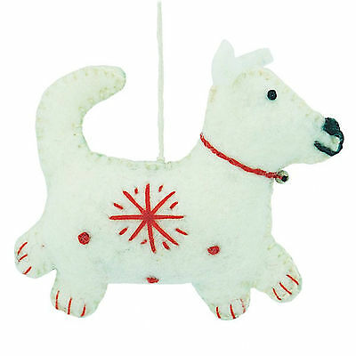White Snowflake Dog Christmas Ornament Felted Wool Handcrafted Nepal Fair Trade