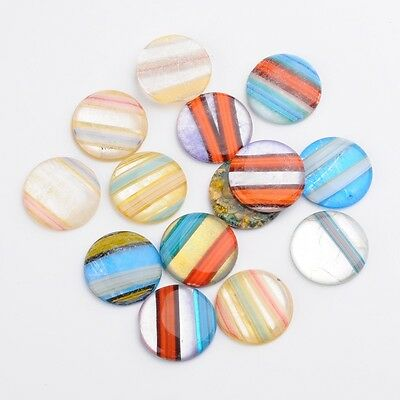 20pcs Flat Round Handmade Millefiori Glass Cabochons Mixed Color 31~32x5~7mm