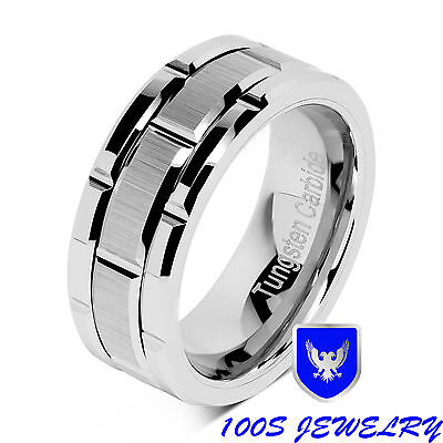 8mm Men's Tungsten Carbide Ring Silver Wedding Band Brick Pattern Size 8-15