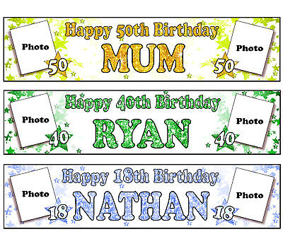 Personalised Banners Name Age Photo Birthday Party Sign Poster Topper Picture A6