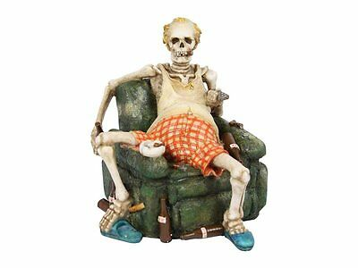Skelton On Lounge Chair With Beer And Smoke