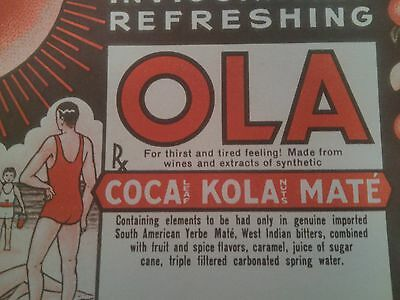 Ola Cocaine Soft Drink Label 1935 Unused Original Drug Ephemera Coca Leaf Old!