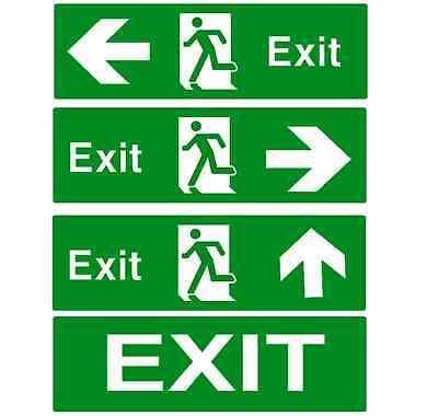 Fire Exit Signs Plastic Rigid Sign Running Man With Direction Arrow
