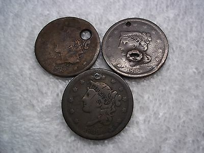 1839 Large cents U.S. (lot of 3) well circulated  HOLED #L27.10.7