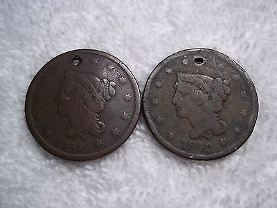 1842 Large cents U.S. (lot of 2) well circulated  HOLED #L31.8.6