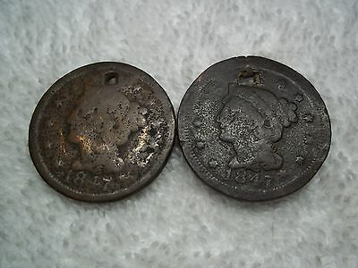 1847 Large cents U.S. (lot of 2) well circulated  HOLED #L36.8.6