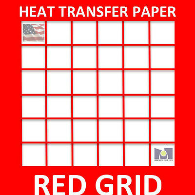 INKJET HEAT TRANSFER RED GRID FOR LIGHT COLOR TSHIRTS - 8.5 x 11- 200 SHEETS