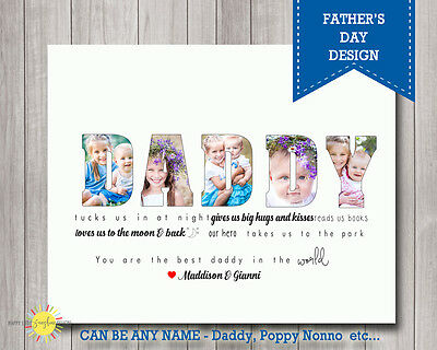 Father's Day Gift Printable Photo Personalised Quote Any name Dad, Poppy etc