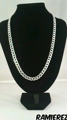 UK Mens 925 silver filled cuban real hip hop curb necklace chain 8mm 24 inch