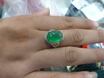 100% pure silver inlay chrysoprase ring Female ring