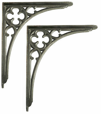 "Pair 12"" 30cm Large Cast Iron Victorian Gothic Shelf Brackets antique decorative"