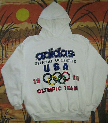 vtg ADIDAS 1988 USA OLYMPIC GAMES TEAM HOODIE shirt jersey 88 united states RARE