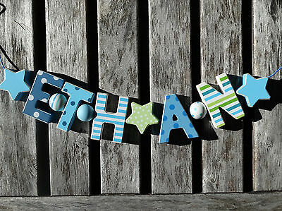 """""""ethan"""" Wooden Wall Door Letters Baby Name Shower Gift Nursery Decor Shabby"""