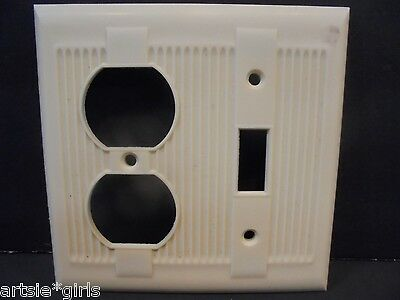 Vtg National Tool Tuxedo Bakelite Combo Switch / Receptacle Plate Excellent