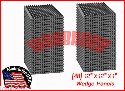 """(48 Pack) Acoustic Wedge Studio Soundproofing Foam Wall Tiles 12"""" X 12"""" X 1"""""""