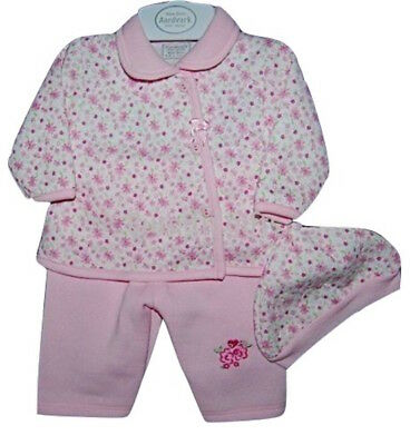 Baby Girls Pink 3 Piece Set Jacket Trousers & Hat Set 0-3 3-6 Months