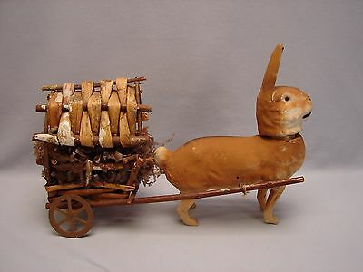 Vintage German Rabbit Easter Bunny Candy Container Pulling a Wagon w Easter Egg