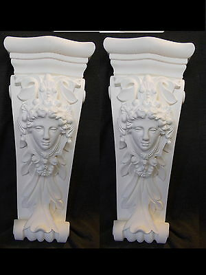 2 Ornate Corbel French Style Furniture Fire Place White Resin