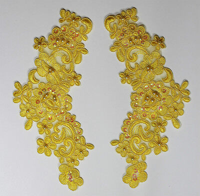 2 X  Embroidered Venise Lace Sequins & beaded Applique Trim Motif  in Yellow #2