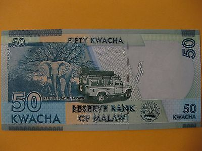 Malawi 50 Kwacha   Safari  2014 UNC note  Elephant note great color in this one