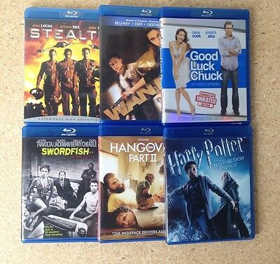 Blu Ray Disc  Lot Of 6 - Harry Potter , Hangover , Wanted ,Stealth Movies Bluray