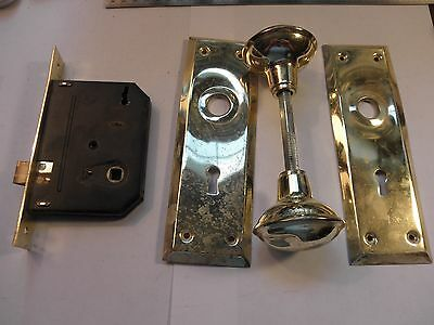 Lot J: Vintage Brass Mortise Door Lock Set