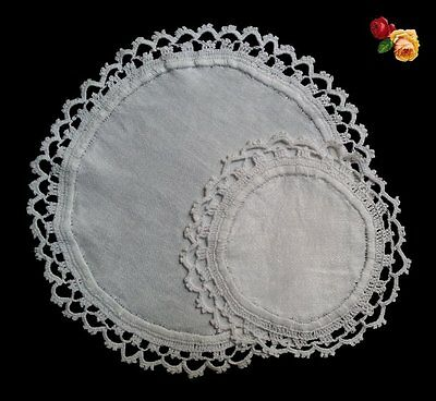 Vintage Round Hand Crochet Lace Doily PAIR White Scallop Set of 2