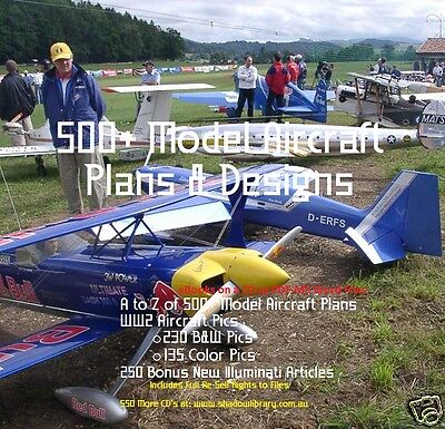 CD - 500 Model Aircraft Plans & Designs - eBooks+WW2 Pics