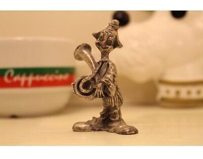 Miniature Pewter Clown Figurine w/ Red Painted Nose and Playing Horn Rustic Vtg