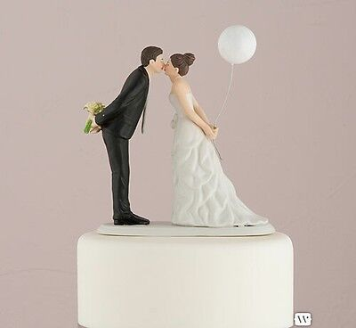 Leaning In For A Kiss Balloon Couple Figurine Ceramic Wedding Cake Toppers